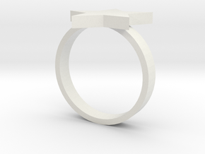 Silver Ring (small star) in White Natural Versatile Plastic