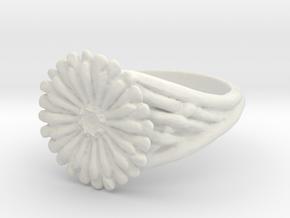 Gerbera Daisy Ring in White Natural Versatile Plastic