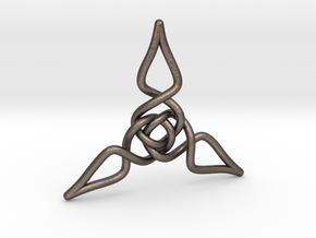 Triquetra Pendant 1 in Polished Bronzed Silver Steel