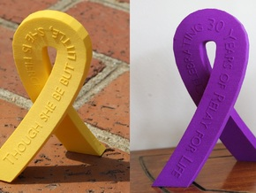 Standing Cancer Ribbon - Customizable in Purple Strong & Flexible Polished