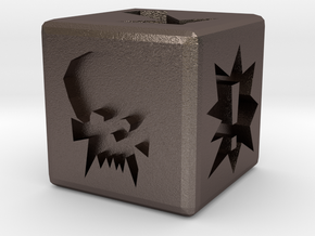 Blood Bowl Block Dice 12mm in Polished Bronzed Silver Steel