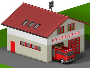 kleine Feuerwache/ little fire station (Z,1:220) in White Natural Versatile Plastic