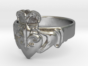 NOLA Claddagh, Ring Size 13 in Natural Silver