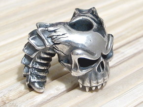 Silver Skull Bead - Demon in Raw Silver