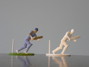 "5"" cricket player model in White Natural Versatile Plastic"