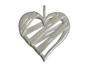 Patched Heart Pendant in Raw Silver