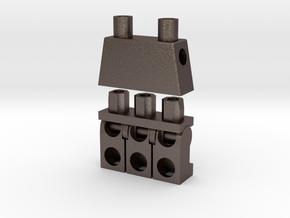 Trinifigure - Three Legged Minifigure in Polished Bronzed Silver Steel