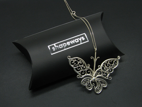 Silver Filigree Butterfly. in Polished Silver