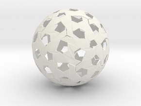 Hexagonal Weave Sphere in White Natural Versatile Plastic