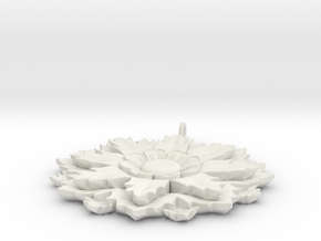 Flower Pendant in White Natural Versatile Plastic