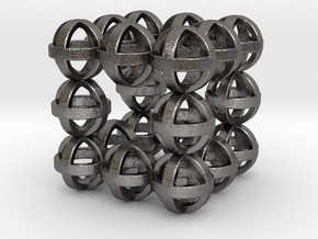 Sphere cube 30mm in Polished Nickel Steel