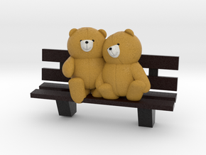 Bears on bench in Full Color Sandstone