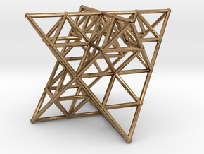 Rod Merkaba Lattice OpenBase - 6cm in Natural Brass