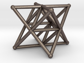 Rod Merkaba Supports 3cm in Polished Bronzed Silver Steel
