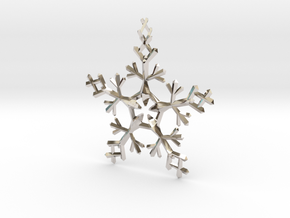 Snow Flake 5 Points - w Loopet - 7cm in Platinum