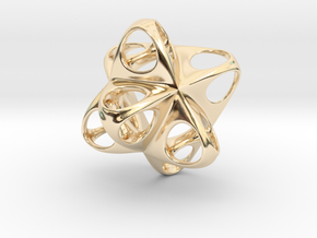 Merkaba Flatbase Round - 3.5cm in 14K Yellow Gold