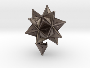 Stellated Icoso Case - 3.6cm in Polished Bronzed Silver Steel