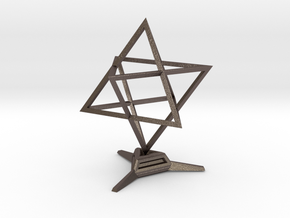Merkaba Sharp - w Base - 4cm in Polished Bronzed Silver Steel