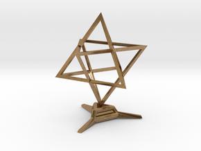 Merkaba Sharp - w Base - 4cm in Natural Brass