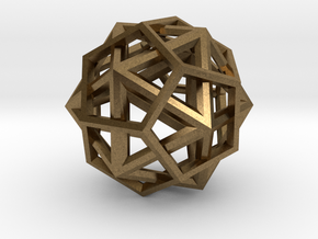 IcosoDodecahedron Thick - 3.5cm in Natural Bronze