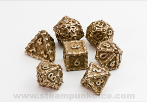 Dragon Dice Set in Polished Bronzed Silver Steel