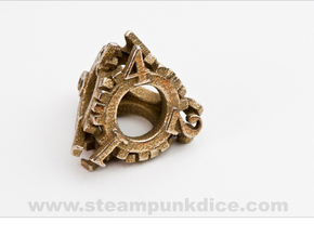 Steampunk Gear d4 in Polished Bronzed Silver Steel