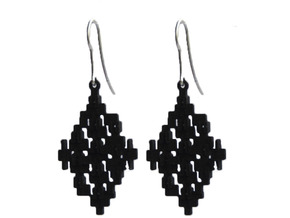 Cubic Earrings in Black Natural Versatile Plastic