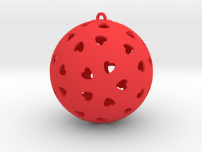 DRAW ornament - hearts  in Red Strong & Flexible Polished: Small