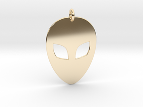 Alien Head Pendant, 1mm Thick. in 14K Yellow Gold