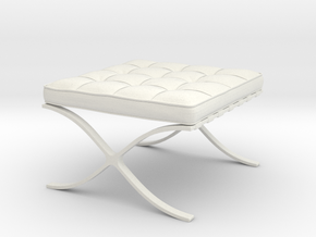Barcelona Ottoman in White Strong & Flexible