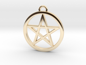 Pentacle Pendant / Keychain 3cm in 14K Yellow Gold