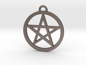 Pentacle Pendant 4cm in Polished Bronzed Silver Steel