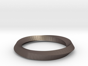 Mobius Wedding Ring-Size 5- in Polished Bronzed Silver Steel