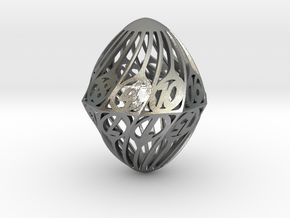 Twisty Spindle d20 in Natural Silver