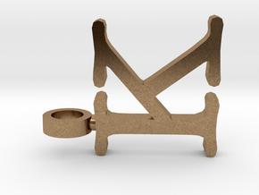 K letter Pendant in Natural Brass