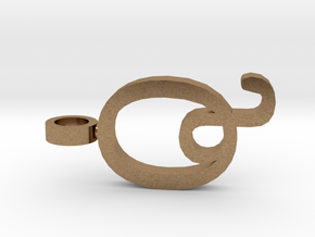 Q Letter Pendant in Natural Brass