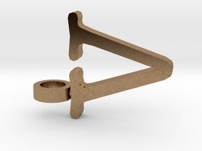 V Letter Pendant in Natural Brass