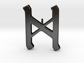 Rune Pendant - Dæg in Matte Black Steel