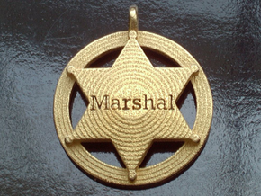 Sheriffs Star (6-point) Pet Tag / Pendant /Key Fob in Polished Gold Steel