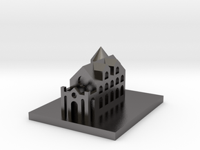 Miniature castle in Polished Nickel Steel