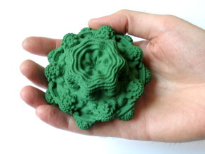 Mandelbulb - medium, 85 mm in Green Processed Versatile Plastic