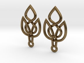 Celtic Knot Leaf Earrings in Natural Bronze
