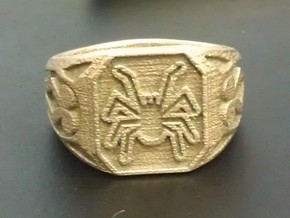 Spider Ring Size 11 in Polished Bronzed Silver Steel