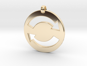 Refresh Sign Pendant, 3mm thick. in 14K Yellow Gold