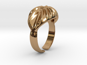 Ring Wave, size 16.8 in Polished Brass