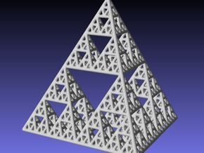 Sierpinski Tetrahedron level 4 in White Natural Versatile Plastic