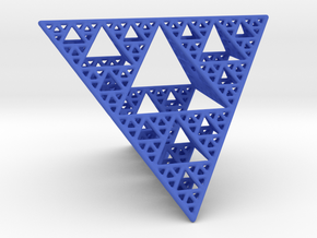 Sierpinski Tetrahedron level 4 in Blue Strong & Flexible Polished
