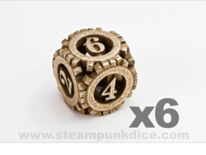 Steampunk Gear 6d6 Set in Polished Bronzed Silver Steel