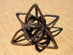 Merkaba Flatbase CurvaciousP - 4cm in Polished Bronze Steel
