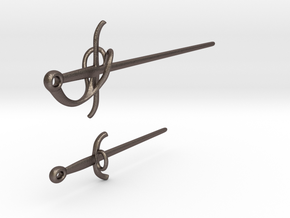 Rapier and Dagger (17th C. sword) earrings in Polished Bronzed Silver Steel